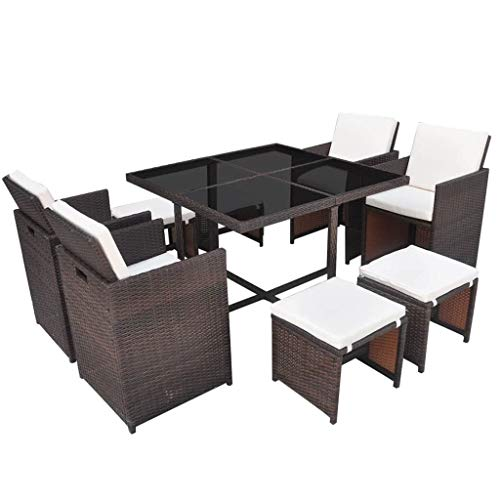 vidaXL Outdoor Dining Set 21 Piece Brown Poly Rattan Garden Patio Furniture