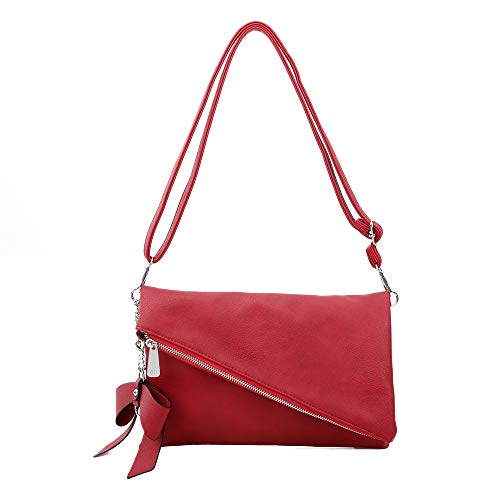 Clutch 2-in-1 - Kleine Handtasche Elegante Abendtasche - Damen Umhängetasche - Schultertasche Abnehmbarer Gurt - inkl. Schleife