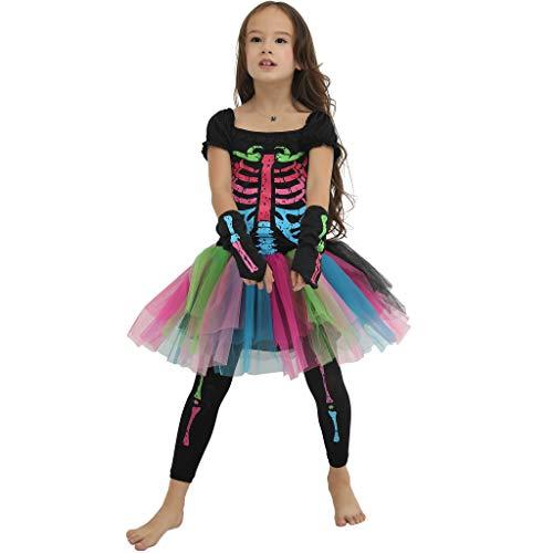 EraSpooky Scheletro Ossatura Costume Multicolore Cosplay Vestito Divertente di Halloween Carnevale Party