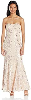 Speechless Women's Strapless Embroidere Mesh with Sequin Maxi