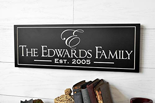 Personalized Family Sign with Established Date Engraved and Painted