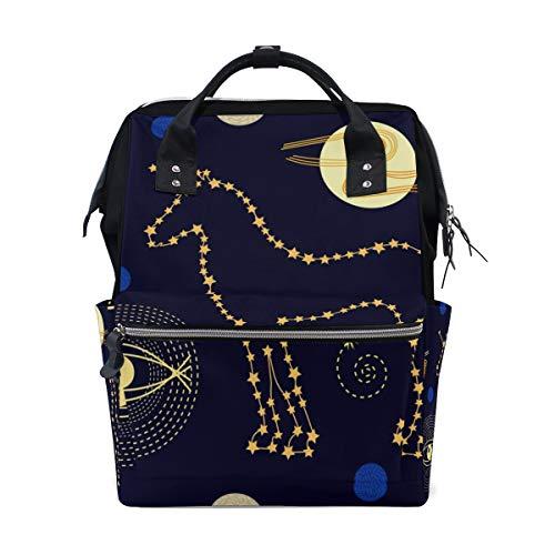 Wickeltasche mit Sternenhimmel und Einhorn-Sternbild für Mütter, groß, unisex, Windeltasche, Baby-Pflege, Reiserucksack, Outdoor, Schule, Laptop-Tasche