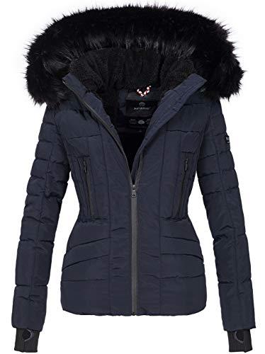 Navahoo Damen Winter Jacke warm gefüttert Teddyfell Stepp Winterjacke B361 [B361-Navy-Gr.M]