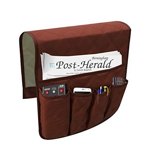 Generic Sofá colgante, reposabrazos, organizador impermeable para mando a distancia, para sofá, almacenamiento colgante, 5 bolsillos, de fieltro, fundas para reposabrazos, para salón (marrón)