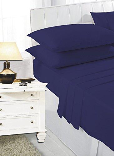 Prime Lines UK Bedding - Lenzuola con Angoli Molto Profondi, in Policotone, Facili da Pulire, 40 cm, 20 Colori, Marina Militare, King