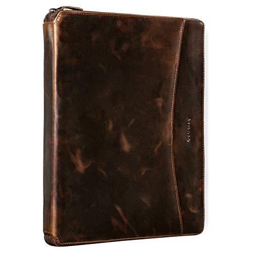 STILORD 'Dexter' Portadocumentos Cuero Bolsa Portátil 13,3' para MacBook Portafolios o Maletín Carpeta Conferencia Trabajo o Negocios Piel Auténtico, Color:Sepia - marrón