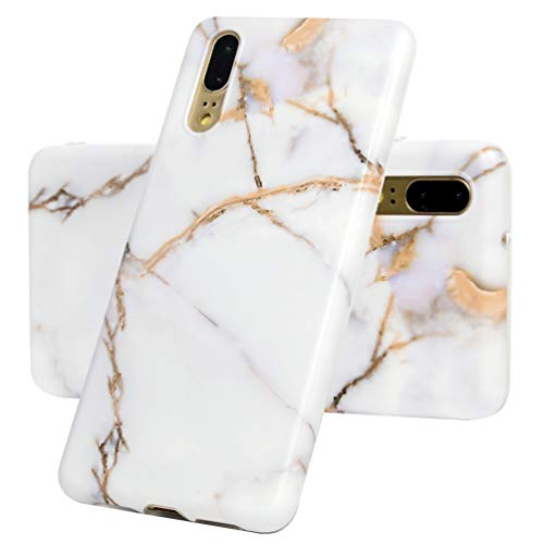 ToneSun für Huawei P20 Marmor Hülle,Marble Handyhülle Muster Granit Case Silikon Case Weich TPU Huelle mit IMD Technologie in Weißes Gold