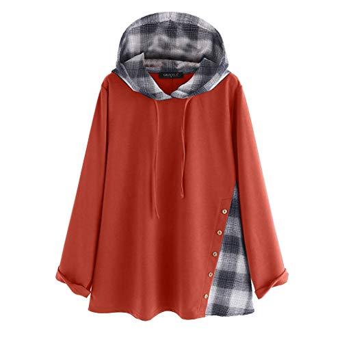 VECDY Damen Tops Mode Frauen Mode Frauen Langarm Sweatshirt Plaid Print Hoodie Lässige Bluse Mode Kapuzenpullover Freizeit Sweatshirt