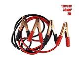 N/a. Cable de Arranque para Batería De Coche 1000AMP/Batería Pinzas Coche/Puente para Arranque De Coche Longitud 2Metros 30mm² para 12V y 24V (Bolsa Incluida)