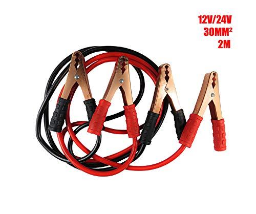 Wagtail Cable de Arranque para Batería De Coche 1200AMP/Batería Pinzas Coche/Puente para Arranque De Coche Longitud 2Metros 30mm² para 12V y 24V (Bolsa Incluida 1200)