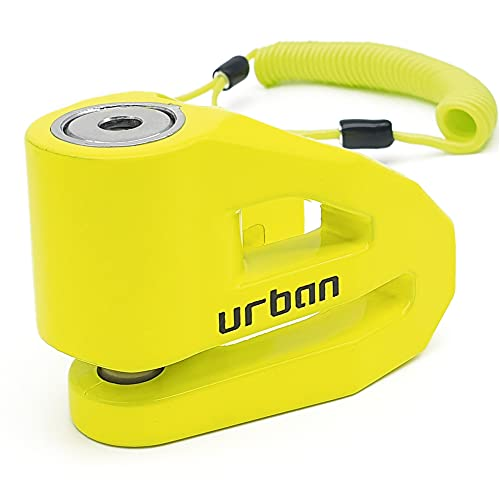 URBAN UR208Y Candado Antirrobo Moto Disco ø10 fabricado en Europa, Amarillo, 10 mm