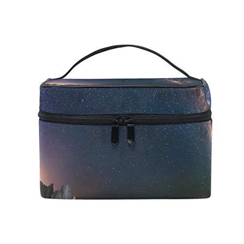 Trousse de maquillage Nuit étoilée Voie lactée Longue exposition Rock Cosmetic Bag Portable Grand Trousse de toilette pour femmes/filles Voyage