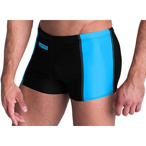 Aquarti Herren Badehose mit Reißverschlusstasche Badeshorts, Farbe: Schwarz/Blau, Größe: XL (Taille ca. 100 cm)
