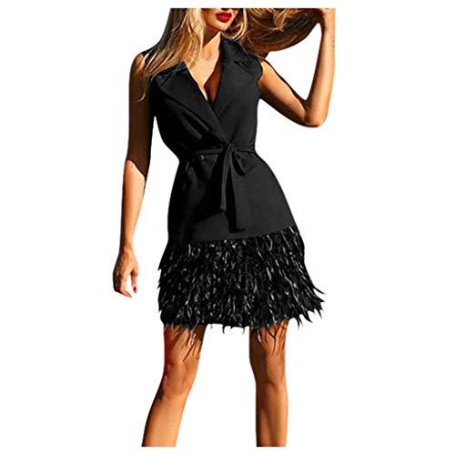 URIBAKY Frauen Formale aus der Schulter Abschlussball Partykleider Kurz Damen Ballkleid Sexy ÄrmellosRückenfrei Festlich Kleider Abendkleid Sommer