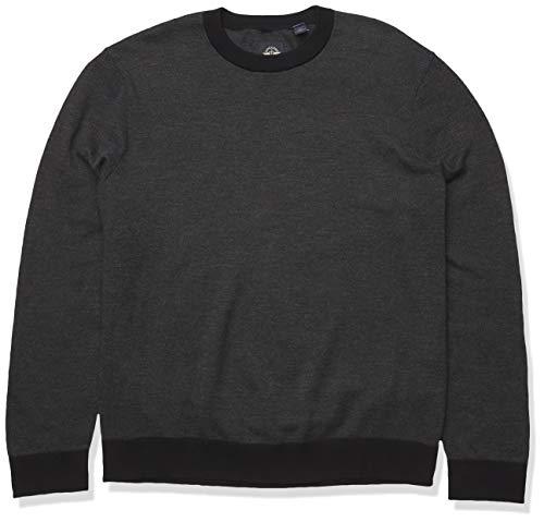 dockers Men's Long Sleeve Crewneck Sweater, Gray Mineral Black, S