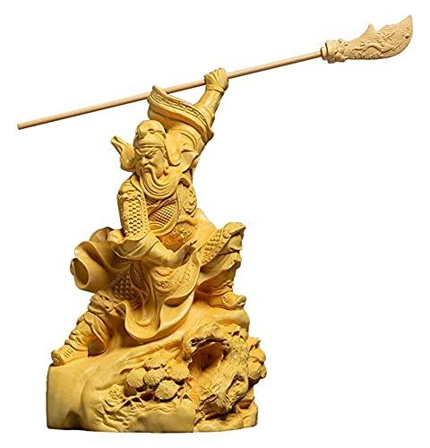 Desktop-Skulptur 15 cm skulptur statue guan gong dekoration buddha statue dekoration holz büro holz schnitzen statuette breitschwert guan yu handwerk