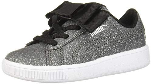 PUMA Girls' Vikky V2 Ribbon Slip ON Sneaker, Black Silver White, 3.5 M US Big Kid