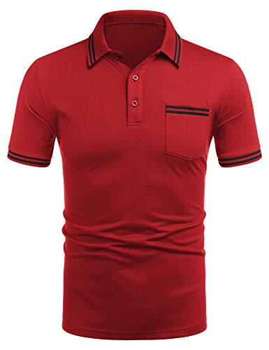 COOFANDY Herren Polo Polohemd Basic Kurzarm Einfarbig Slim Fit Polo Shirt Oberteil, Knopfleiste, Hemdkragen Kurzarmshirt Shirt Basic Poloshirt aus Baumwolle mit zweifarbigen Details