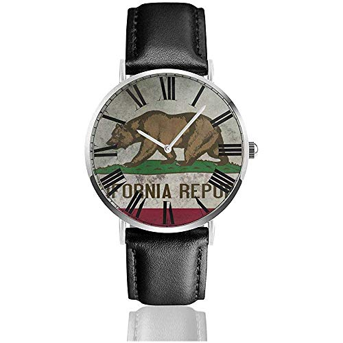 Kalifornien-Flaggen-Bärn-Weinlese-Uhr-beiläufige Schwarze Lederarmband-Armbanduhren für Männer verkratzen Beweis-Mann