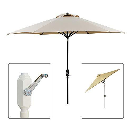 Round Patio Umbrella Aluminum Umbrella, With Push Button Tilt And Crank Lift Ventilation & Sturdy Ribs (7/9/10Ft)