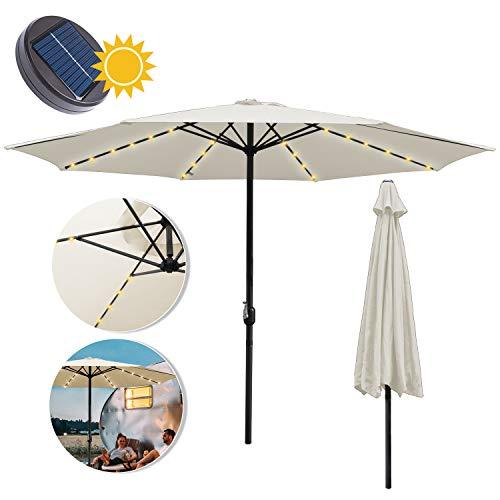 wolketon Sonnenschirm Ø350cm Alu Marktschirm Gartenschirm mit Warmweiß Solar-Beleuchtung Terrassenschirm UV Schutz 30+ Kurbelschirm