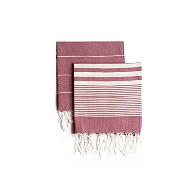 Set of 2, Eco-friendly Turkish Tea Towel, Dishclothes, Dish Towel, Kitchen Towel, Hand Towel (Red), Size: 18″ x 40″