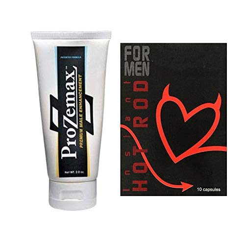 ProZemax Male Enhancement Lotion 2 Oz (1Tube) with Hot Rod Loaded Vigorgen Result for Men 10 Capsules (1 Box)
