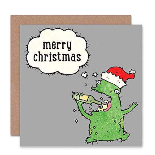 Wee Blue Coo LTD New Merry Christmas Holiday Drinking Monster Christmas Sealed Greeting Card Plus Envelope Blank Inside Christus vakantie drank Christus