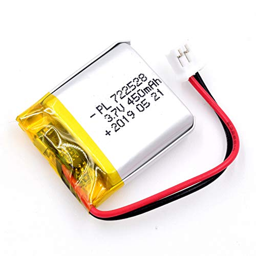 AKZYTUE 3.7V 450mAh 722528 Lipo Battery Rechargeable Lithium Polymer ion Battery Pack with JST Connector