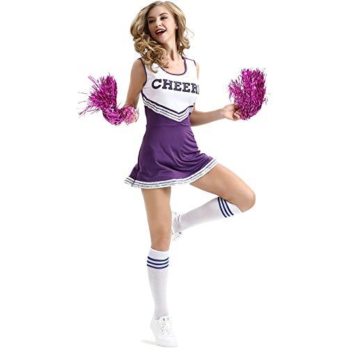 Oismys Disfraz de animadora para mujer, con 2 pompones de la escuela secundaria, musical, animadora, lder, cosplay, mini falda plisada