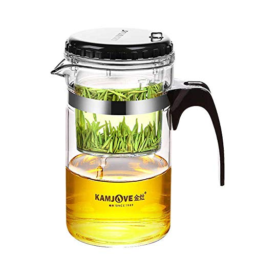 KAMJOVE TP-200 Teekanne Glaskanne Füllvolumen: 1000 ml Ideal Zur Zubereitung von Tees Kräuter Tee Herstellen All-In-One-Set Zum Aufbrühen Filtern Und Trinken Von Tee Brühen Tee Kaffee Mehrzwecktopf