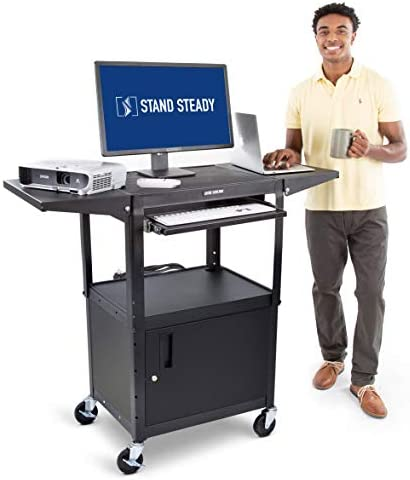 Line Leader AV Cart with Locking Cabinet and Drop Leaves Height Adjustable Utility Cart with product image