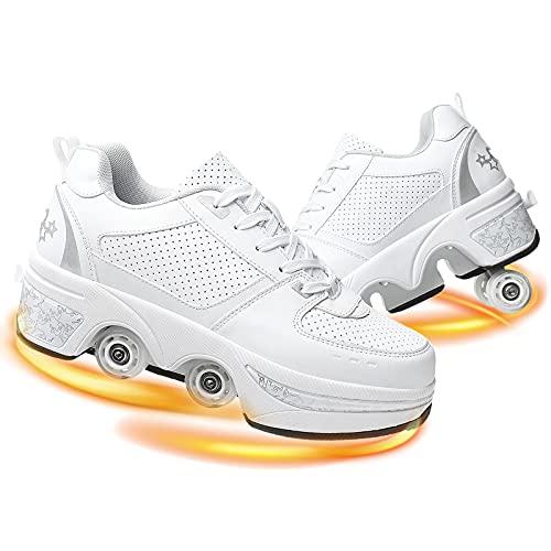 YUNWANG Patines En Paralelo Patines De Ruedas Profesional PatinesdeRodillos 2 En 1 Skate Ligeros Calzado para Adolescentes Y Adultos