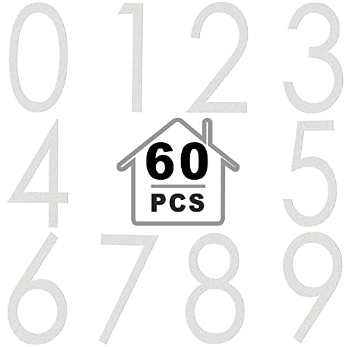60 Pieces Vinyl Mailbox Numbers Stickers Reflective Adhesive Waterproof 0-9 Door Stickers Street House Address Numbers Decal for Residence, Apartment, Office Room, Window Cars (White, 2 Inch)