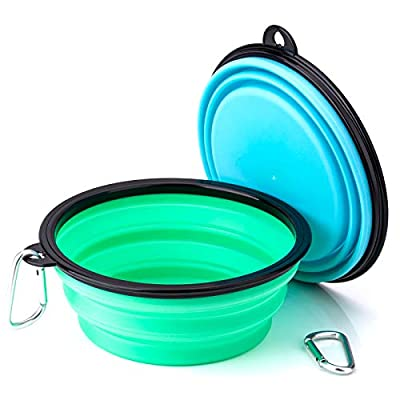 IDEGG Collapsible Dog Bowl, Food Grade Silicone,BPA Free Foldable Expandable Cup Dish for Pet Dog/Cat Food Water Feeding Portable Travel camping Bowl