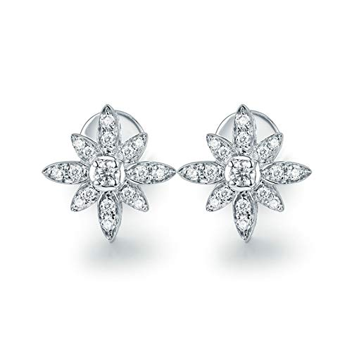 AtHomeShop Real Gold Collection, 18K White Gold Earrings, Earrings with Sparkling 0.14ct Round Diamond Evening Jewellery for New Year Gift Valentine's Day Gift, Polished White Gold