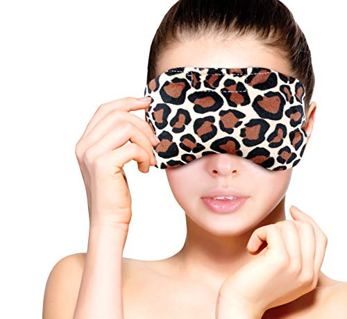 Heated Microwavable Eye Mask by FOMI Care   Lavender Scented, Reusable, Compress for Migraines, Dry Eyes, Headaches, and Sinus Relief   Soothing Moist Heat Wrap (Leapord)