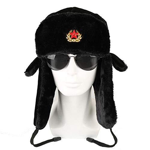 AdronQ Sombrero de Bombardero Insignia del ejército soviético Piloto de Invierno Ruso Ushanka Gorro de Invierno Gorro de piloto orejera Gorro de Nieve