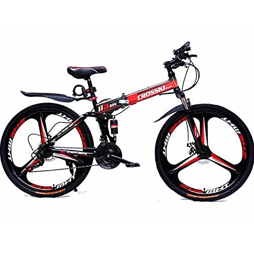 GWL Bicicleta Plegable para Adultos, Bicicleta para Joven, Mujer Mountain Bike, Bicicleta de montaña prémium para niños, niñas, Hombres y Mujeres/Red / 27