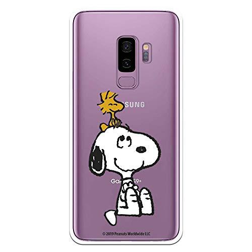 Funda para Samsung Galaxy S9 Plus Oficial de Snoopy Woodstock y Snoopy Silueta para Proteger tu móvil. Carcasa para Samsung de Silicona Flexible con Licencia Oficial de Peanuts.