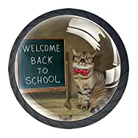 引き出しハンドルは丸いクリスタルガラスを引っ張る キャビネットノブキッチンキャビネットハンドル,眼鏡と蝶ネクタイをした猫の先生