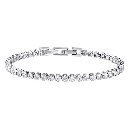 SILVEGO Damen Armband aus 925 Sterling Silber Tennis Armband mit Zirkonia OLIVIA