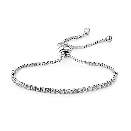Philip Jones Silver Solitaire Friendship Bracelet Created with Austrian Crystals