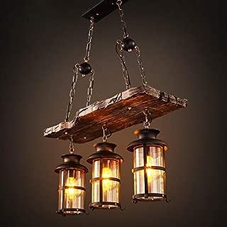 Joypeach 3 Heads Industrial Loft Style Countryside Vintage Wooden Chandelier Lamp for Living Room/Dining Room Pendant Lamp (110V)