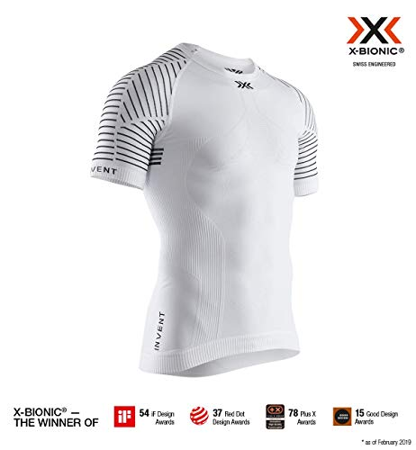 X-Bionic Invent Light Shirt Round Neck Short Sleeve Men, T Uomo, Arctic White/Dolomite Grey, M