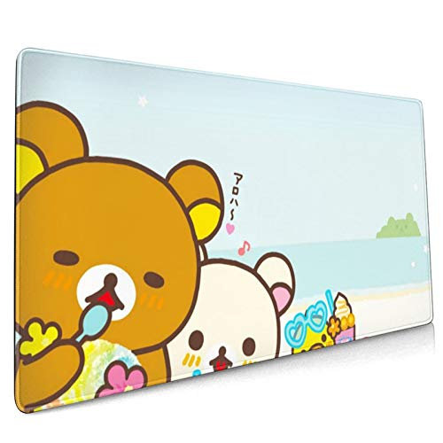 Rilakkuma Mouse pad Customized Mousepad Non-Slip Rubber Base Mouse Pads for Computers Laptop Office Desk Enjoy Precise & Smooth Operating Experience 15.8 by 35.5 inches