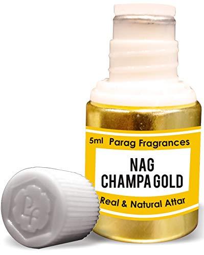 Parag Fragrances Nag Champa Gold Attar 5 ml (attar sans alcool longue durée pour homme ou utilisation religieuse) Bhapka traditionnelle, fabriqué en Inde
