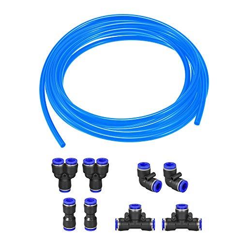 sourcing map Pneumatischer Luftschlauch, Polyurethan, Luftkompressor, 6,5 mm ID x 10 mm OD x 10 m, Blau mit Verbindungs-Montageset