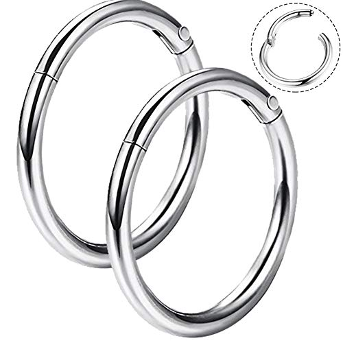 OUFER 16G 316L Surgical Steel Hinged Clicker Segment Septum Lip Nose Hoop Ring Helix Daith Cartilage Tragus