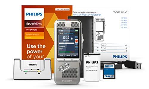 Philips DPM8200 Digitales Diktiergerät, Bedienung per Schiebeschalter, 3D-Mikrofon für ausgez. Stereo-Tonaufnahmen, Farbdisplay, Edelstahlgehäuse, inkl. Diktiersoftware SpeechExec Pro 2-Jahres-Abo